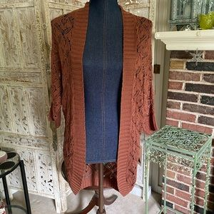 ModCloth Rust Open Knit Cardigan M/L NWT